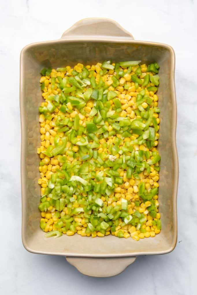 Corn and peppers in a casserole dish