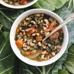 Instant Pot Black Eyed Pea Soup on Collards