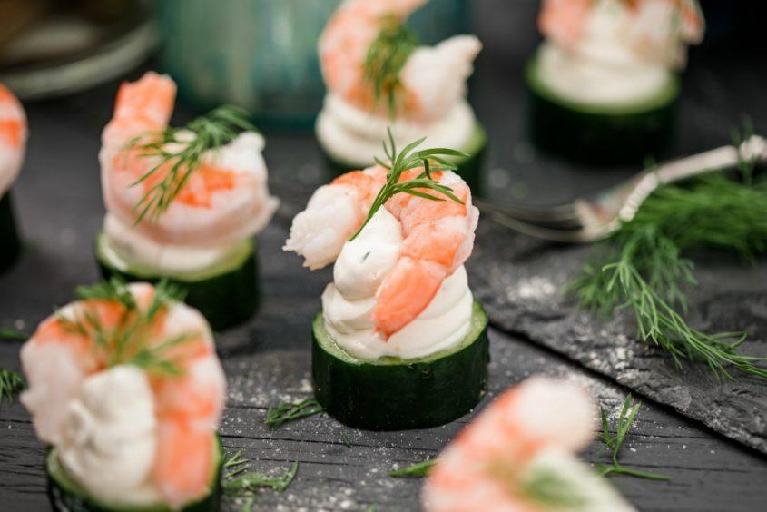 cucumber canape with shrimp