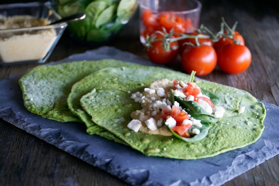 homemade tortillas with spinach