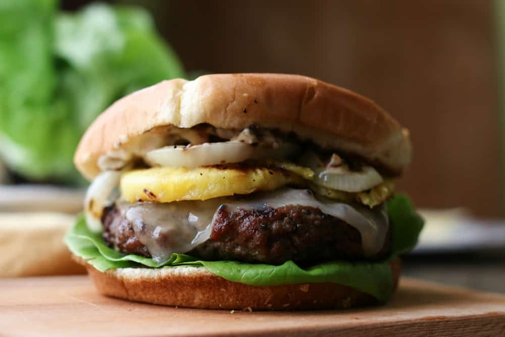 Hawaiian Burgers with Grilled Fruit