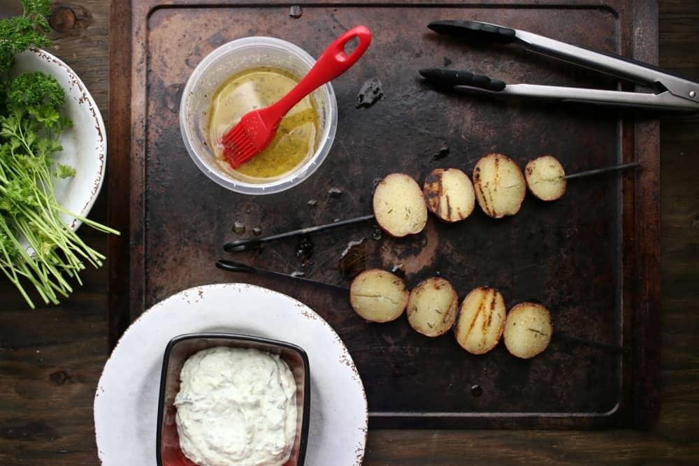 Lemon Garlic Potato Kebabs