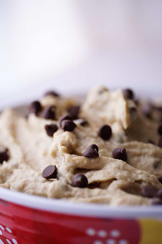 Closeup of Cookie Dough Hummus with Chocolate Chips
