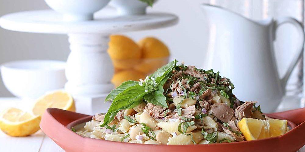 Lemon Basil Tuna Pasta Salad