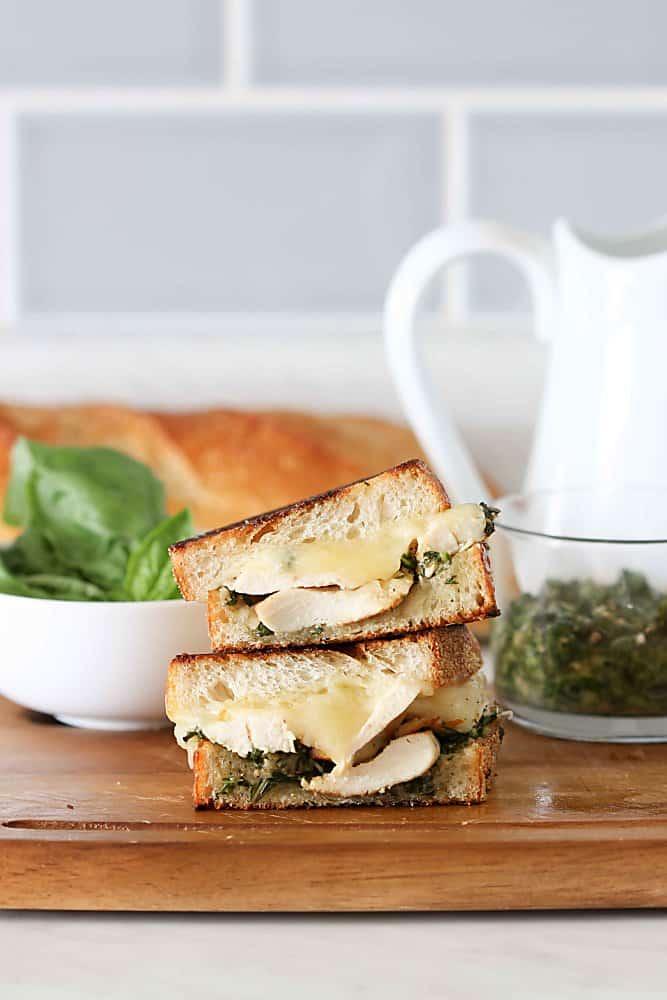 Pesto Chicken Grilled Cheese Sandwich