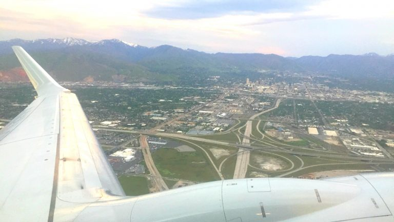 Airplane over Salt Lake City