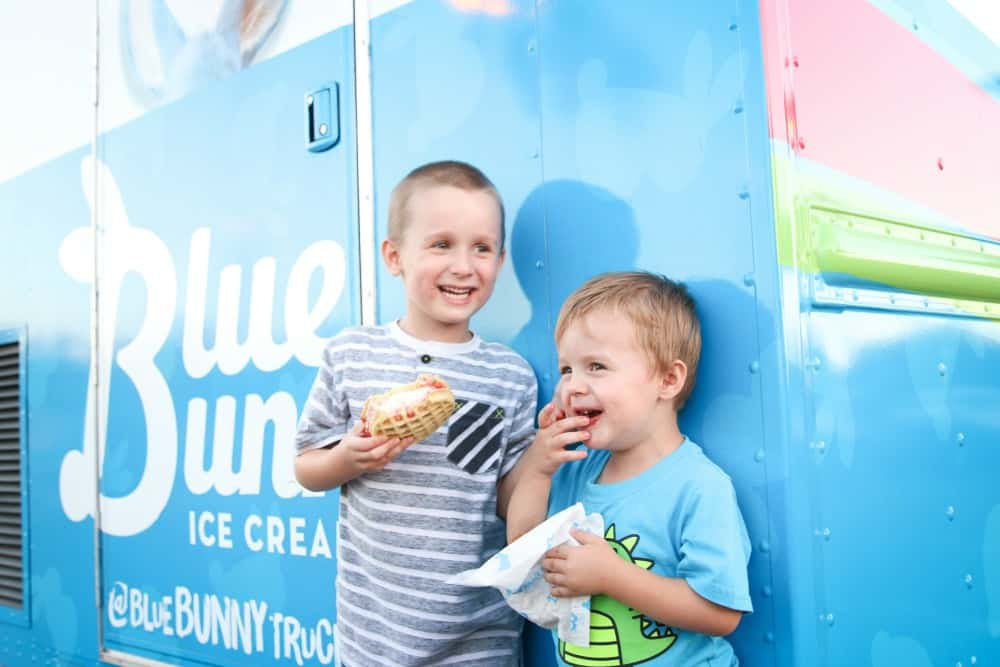 Blaise and Calvin at the Blue Bunny Truck