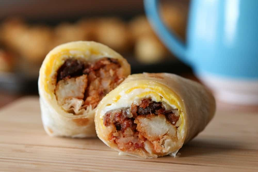 tater tot and bacon breakfast burrito