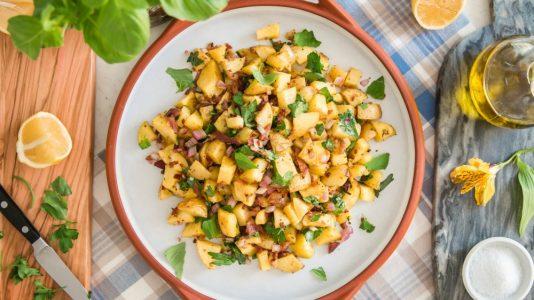 potato salad with bacon, basil and lemon vinaigrette