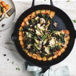Vegan Tater Tot Pizza with Mushrooms and kale