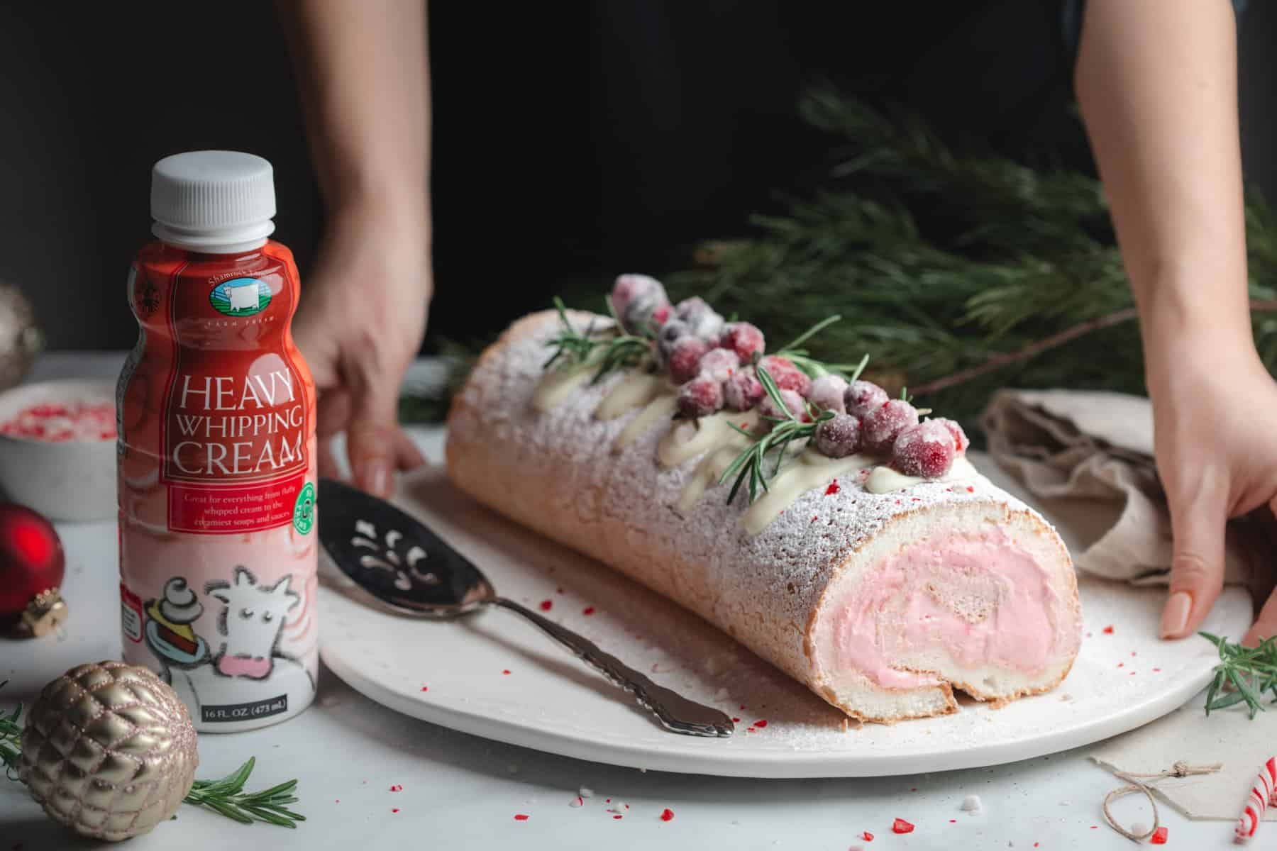 A rolled Angel Food Cake Filled with Peppermint Cream