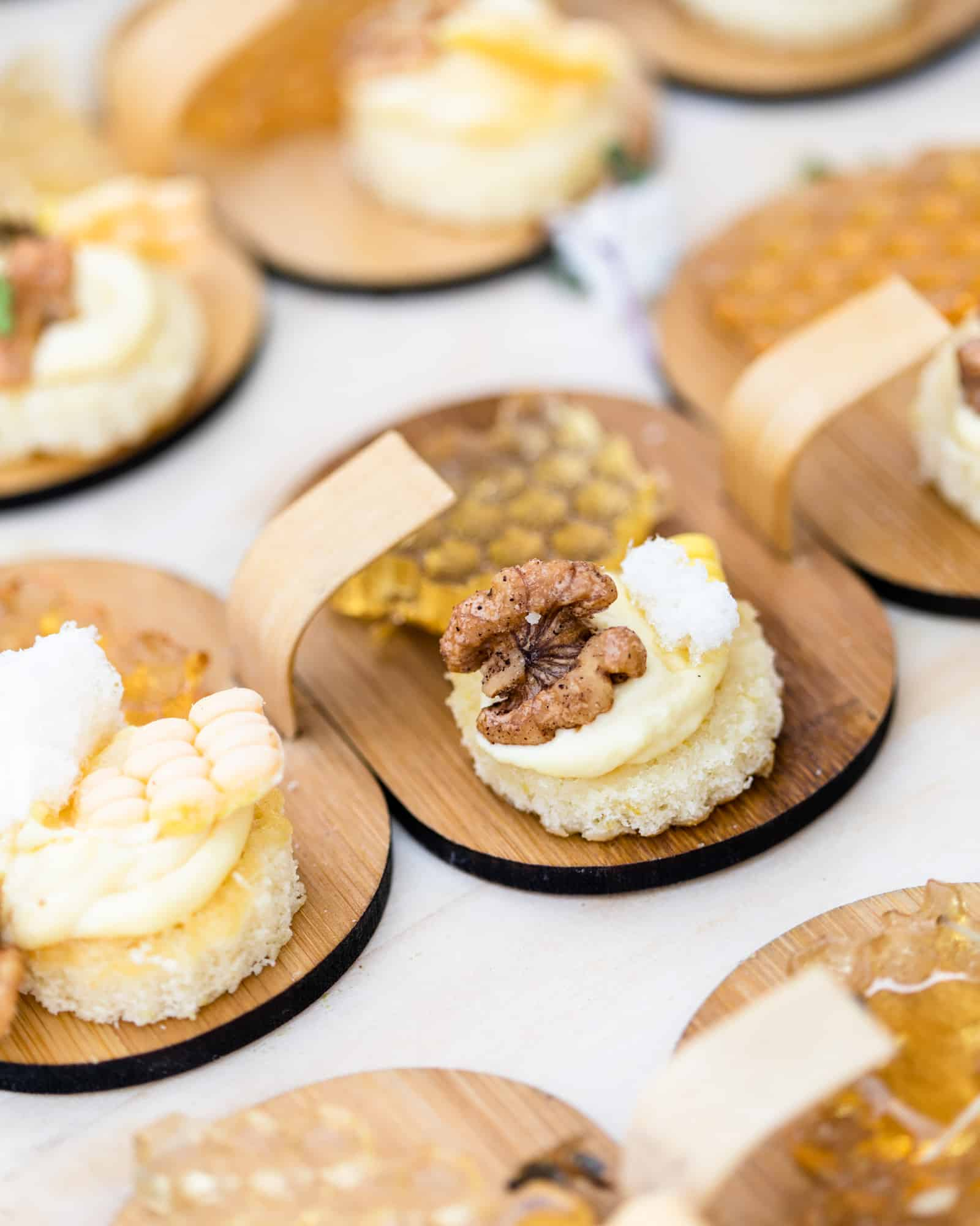 Honeycomb and Corn Panna Cotta bites at a food festival