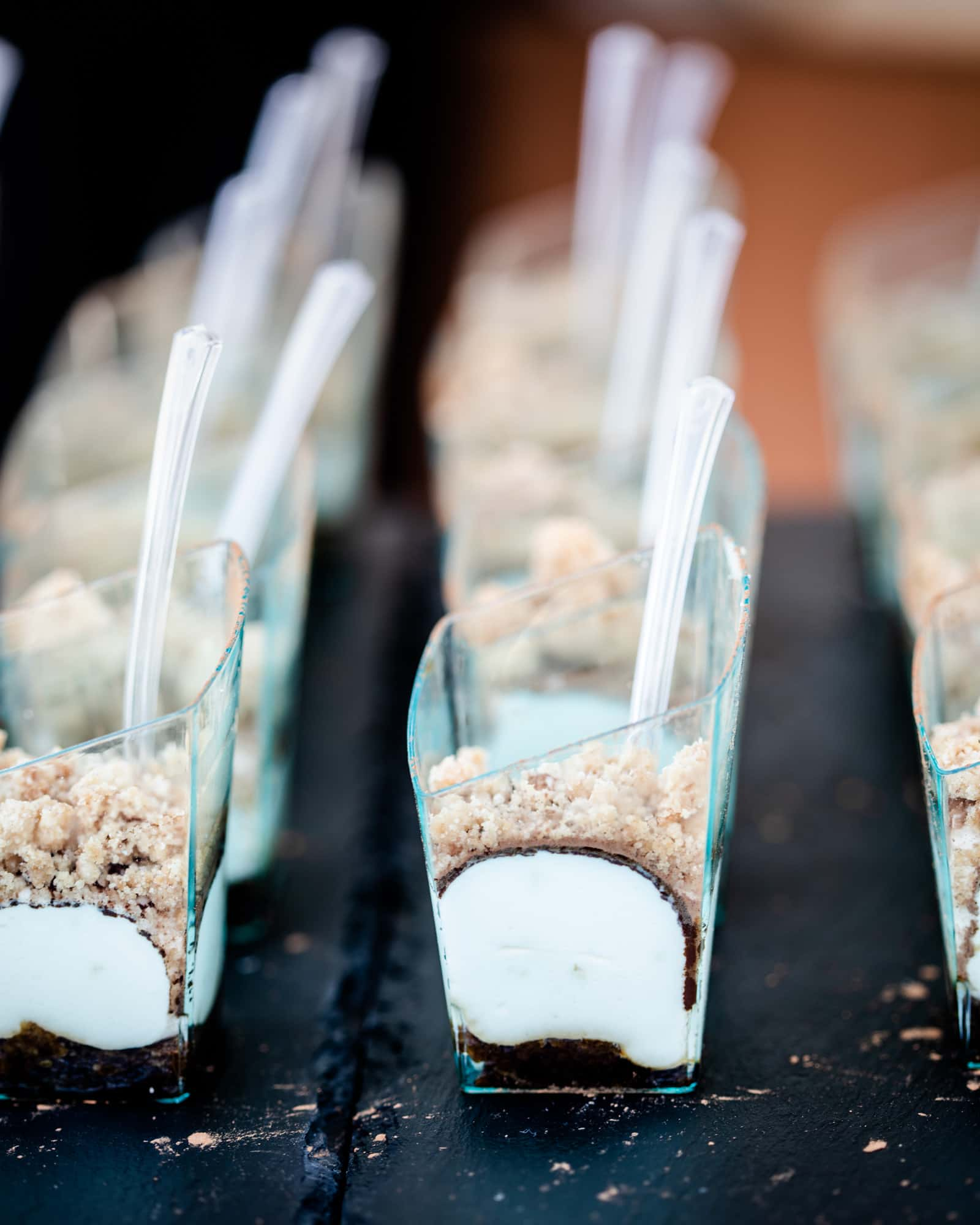 Mesquite Tiramisu in small blue sample cups