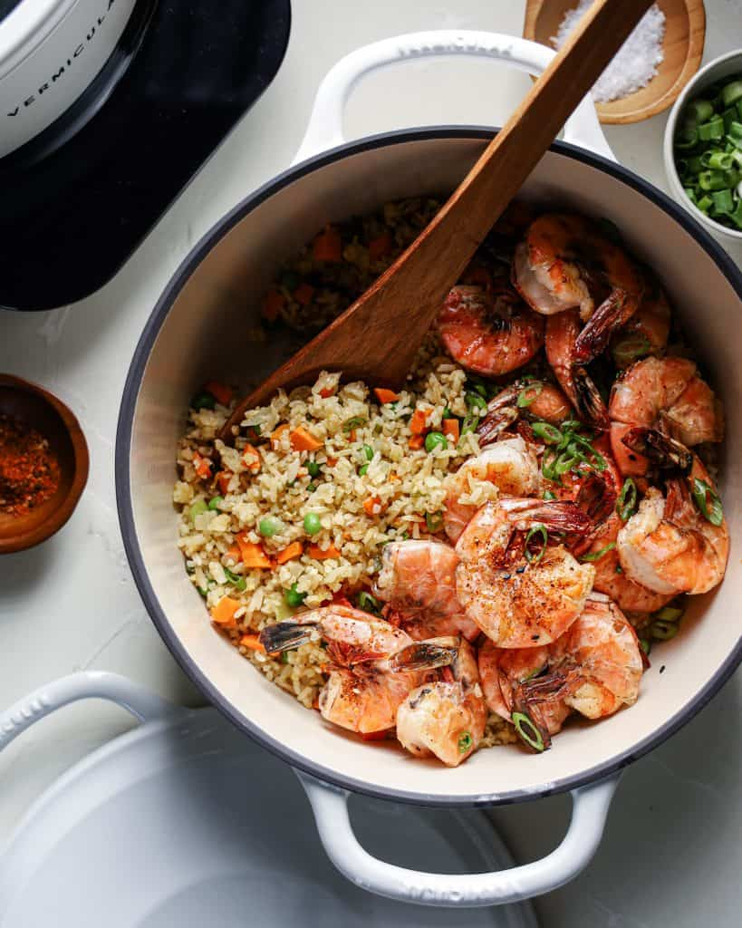 An overhead view of a pot of shrimp fried rice